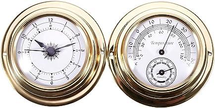 Facibom termómetro higrómetro barómetro relojes reloj 2 conjunto conjunto estación meteorológica metro