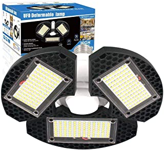 LED Garage Lights, 60w Deformable LED Garage Ceiling Lights 7500 Lumens CRI 80 Led Shop Lights for Garage, Garage Lights with 3 Adjustable Panels, Utility Led Garage Lighting (No Motion Activated) 1PK