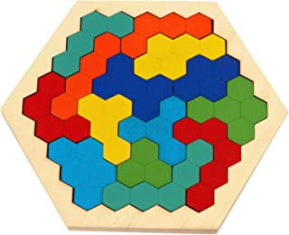 Zoostliss Hexagon Wooden Puzzles Brain Teasers Toy, 16 Pcs Colorful Hexagon Fun Geometry Logic Tangrams Puzzle Table IQ Game Educational Toys for Kids