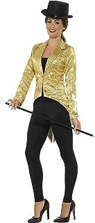 Smiffys-21229L Chaqueta de FRAC con Lentejuelas, Dorado, para Mujer, Color Oro, L-EU Tamaño 44-46 (Smiffy'S 21229L)
