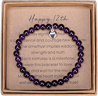 12 Year Old Girl Gifts for Birthday Amethyst Bead Bracelet with Sterling Silver Heart Charm Happy 12th Birthday Gifts for ...