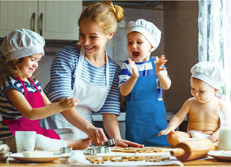 Multicolor, S para 2-6 A/ños SATINIOR 8 Piezas Delantal de Ni/ños Delantales de Cocina de Ni/ños Delantal de Chef Ajustable de Ni/ños con Bolsillo para Cocina Cocina Hornear Pintura de Ni/ños
