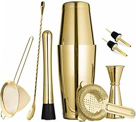(Gold Plated) - Gold Boston Cocktail Shaker Set for Professional Bartender and Home Bar Including 530ml & 830ml Tins Shaker, Strainer, Measuring Jigger, Muddler,Mixing Spoon and Cocktail Pourer (9 Piece)
