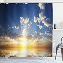 Ambesonne Mystic Shower Curtain, Sunset Reflection on The Sea View with Sun Rays Vivid in The Horizon Image, Cloth Fabric Bathroom Decor Set with Hooks, 75 Long, Yellow Brown