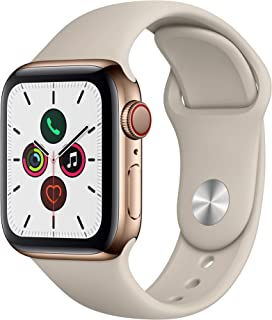 Apple Watch Series 5 (GPS + Cellular, 40mm) - Gold Stainless Steel Case with Stone Sport Band