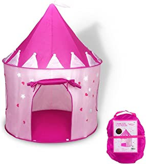 Princess Castle Play Tent with Glow in The Dark Stars, Foldable Children Tent with Carrying Case, Pop Up Pink Play Tent/Ho...