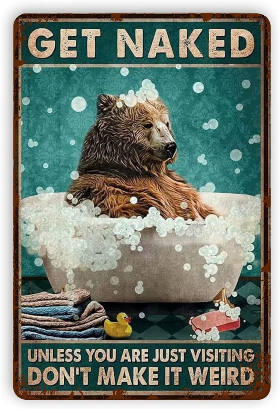 Baby Kleidung Weant Metal Vintage Tin Signs - Bear Bathing in Bathtub Get Naked Funny Wall Decor for Home Bars Pubs Cafes Bathroom Retro Art Sign Metal Posters 8x12 Inch