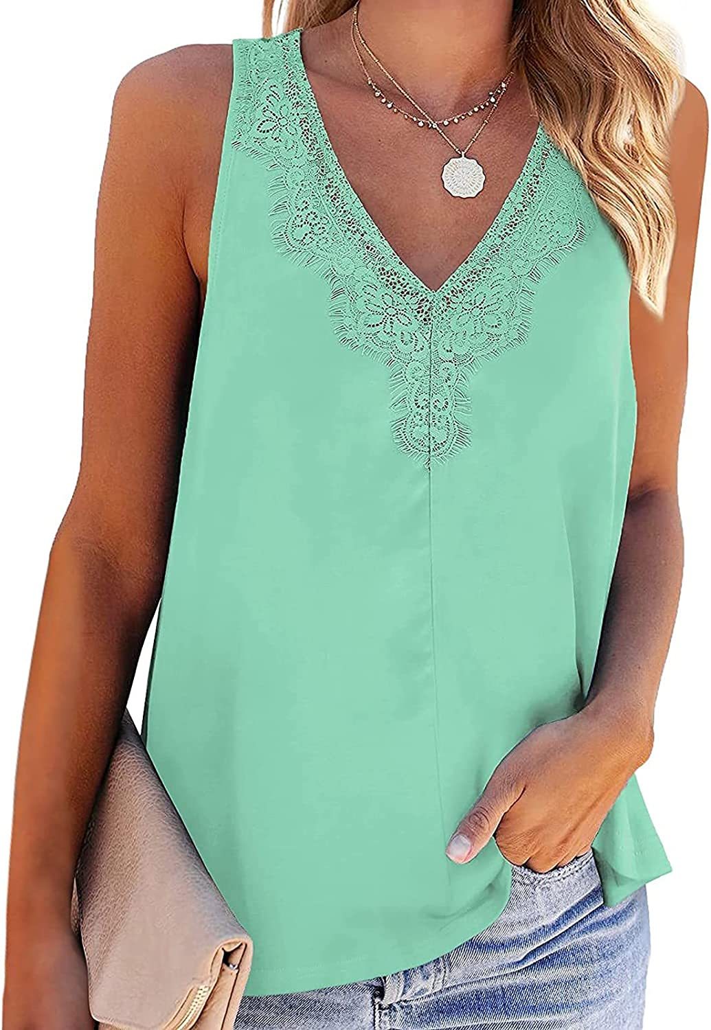 Womens Tops Summer Sexy,Womens Tank Tops Summer Loose Fit Color Block Casual Sleeveless Tshirts