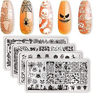 BORN PRETTY 4Pcs Nail Art Stamping Plates Halloween Pumpkin Ghost Skull Bat Templates Image Plates for manicuring DIY Print