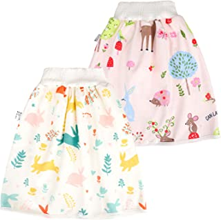 MooMoo Baby 2 Packs Reusable Waterproof Diaper Skirt for Night Wetters Potty Training,Comfy Cloth Diaper Guards Shorts-Nig...