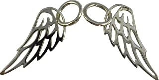 Sterling Silver 925 Small Angel Wing Charm with Closed Jump Ring 2 Pieces