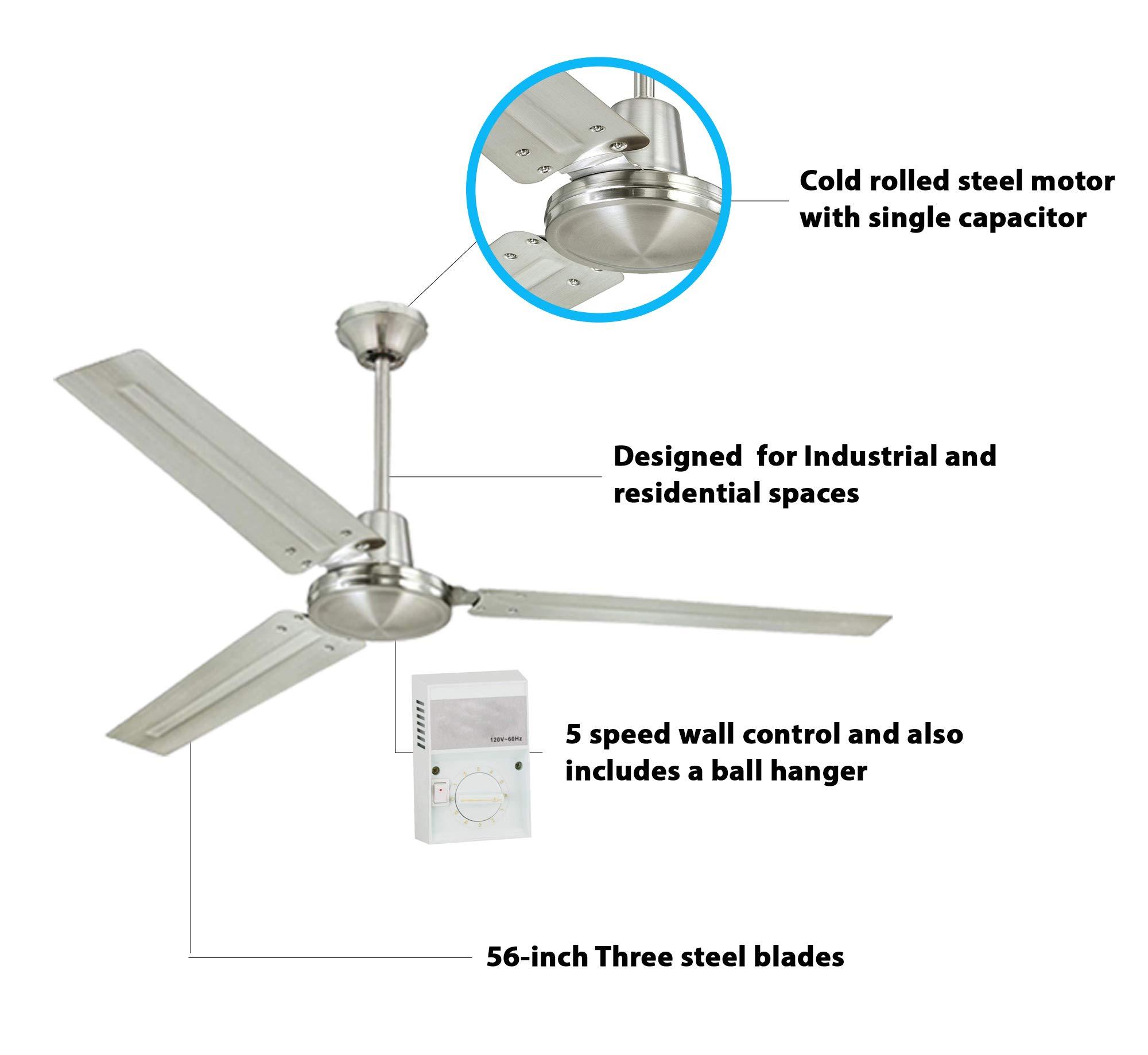 Westinghouse 7861400 - Ventilador de techo industrial (56 pulgadas ...