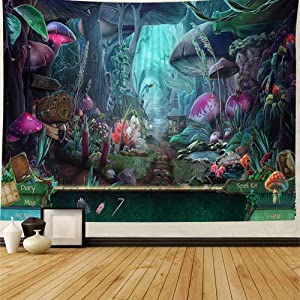 Psychedelic Mountain Tapestry Wall Hanging - Mushroom Electric Forest Large Tapestry Wall Decor Tapestries Magic Land Home Wall Decor for Bedroom College Dorm Room Decoration