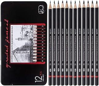 مجموعه مداد طراحی رسم حرفه ای - مداد گرافیت نقاشی 12 قطعه (8B - 2H) ، ایده آل برای طراحی هنر ، طراحی ، سایه زنی ، برای مبتدیان