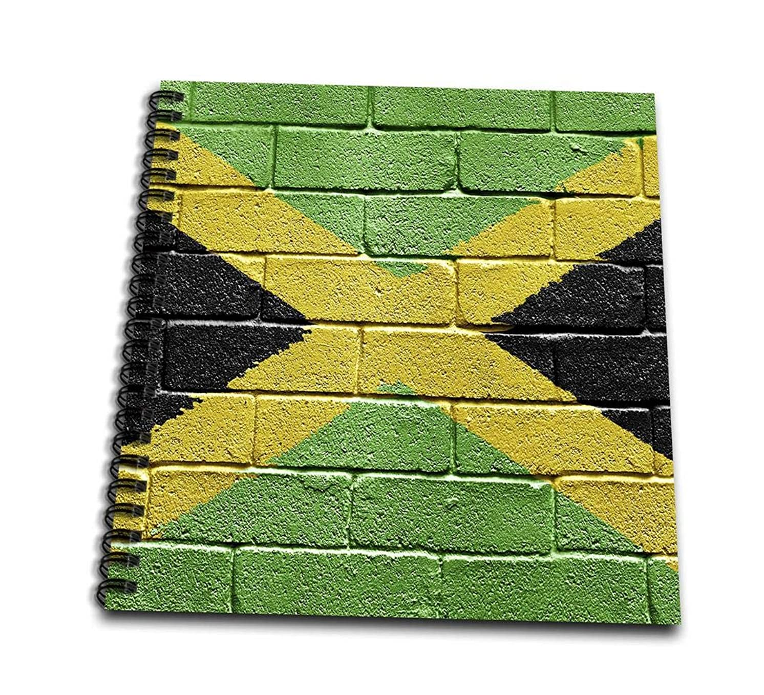 3dRose db_156913_1 National Flag of Jamaica Painted onto a Brick Wall Jamaican Drawing Book, 8 by 8-Inch