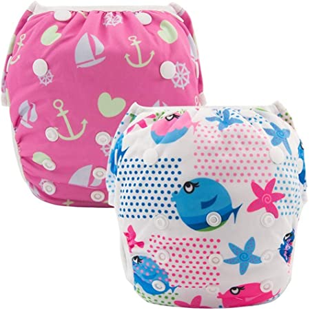 ALVABABY0-3 Years Swim Diapers Large Size 2pcs Reuseable Washable /& Adjustable for Swimming Lesson /& Baby Shower Gifts