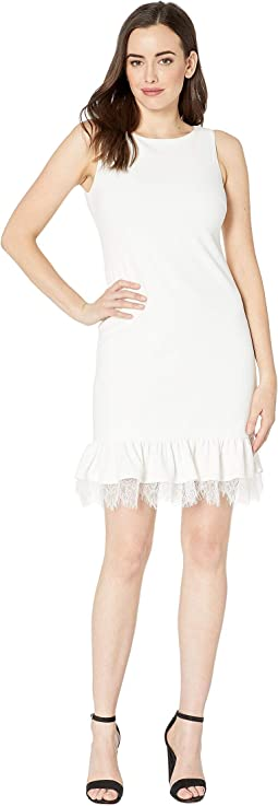 Ruffle Hem Dress with Lace Detail
