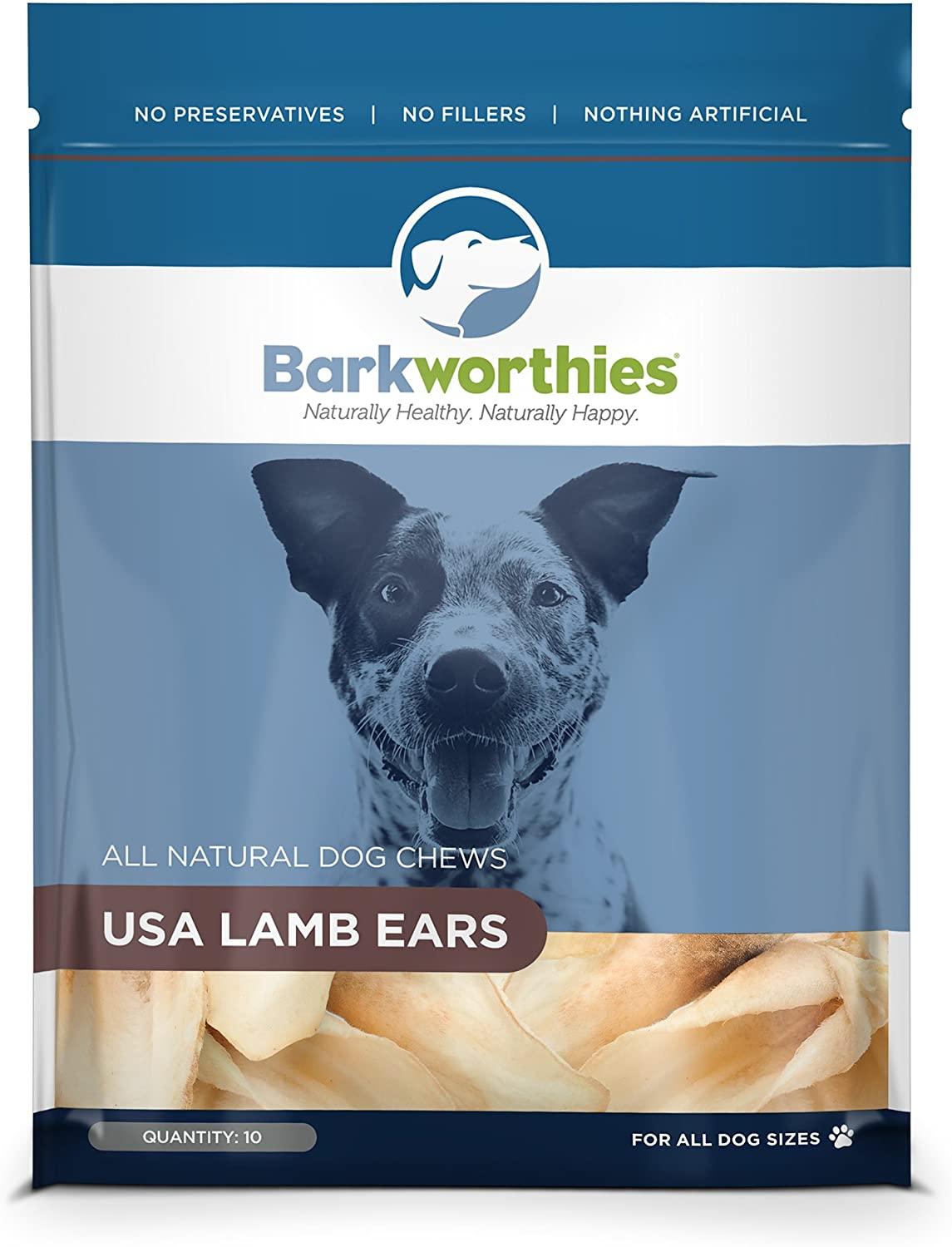 Barkworthies 10Pack Lamb Ears Chew for Pets