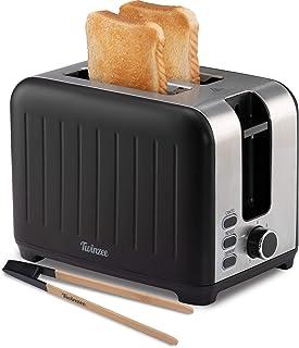 Twinzee - Grille Pain 3 en 1 - Noir Mat en Inox - 2 Large Fente - Toaster Rétro - Pince en Bambou Gratuite - 7 Niveaux de ...