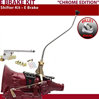 American Shifter 529150 Shifter Kit (45RFE 23 Swan E Brake CHR Push Button Floor Handle Billet Knob For F556E)