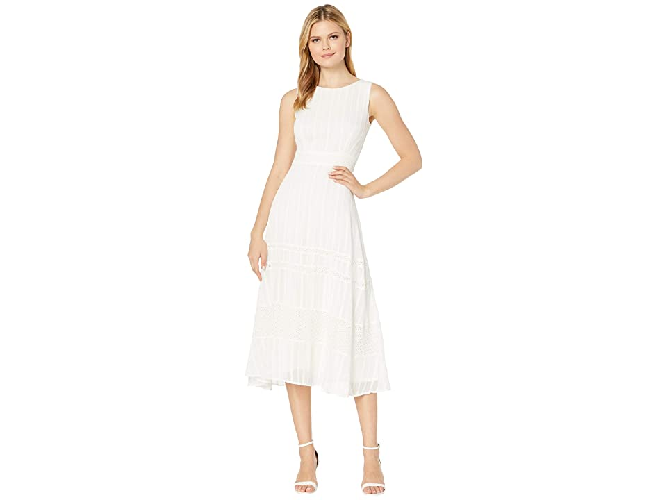 Taylor Sleeveless Embroidered Lace Midi Dress (Ivory) Women