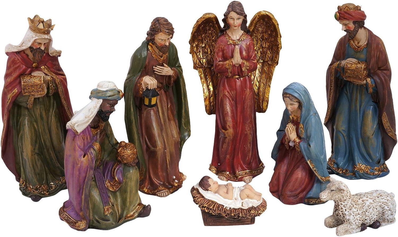 Large Traditional Christmas Nativity Scene, Set of 8 Rearrangeable Figures