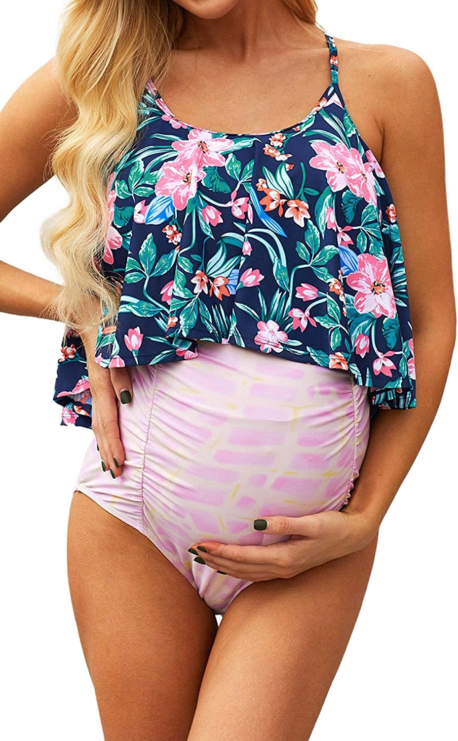 CCGKX 永遠の定番 Women's Swimsuits Floral Top Ruched 新品 送料無料 Sw Maternity One-Piece