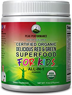 Kids Greens and Reds Superfood Powder. Best Tasting Organic Vegan Super Food Juice with 25+ Real Fruits and Vegetables. Gl...