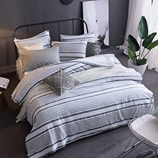 Merryfeel Cotton Duvet Cover Set,100% Cotton Yarn Dyed Striped Duvet Cover and Pillowshams, 3 Pieces Bedding Set - Full/Queen - Grey Blue