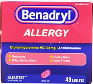 Benadryl Allergy Relief Ultratab Tablets, Diphenhydramine Hcl 25mg. 48 Count Pack of 3 - Total 144 Tablets