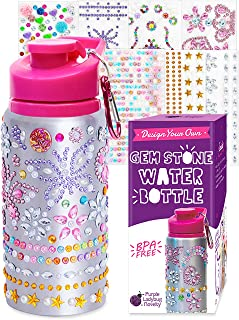 Best Purple Ladybug Decorate Your Own Water Bottle for Girls with Tons of Rhinestone Glitter Gem Stickers - BPA Free, Kids Water Bottle Craft Kit - Cute Gift for Girl, Fun DIY Arts and Crafts Activity Review
