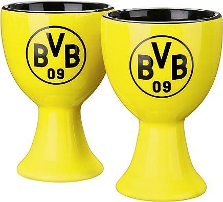 Preisvergleich für Borussia Dortmund BVB Eierbecher mit Logo, Keramik, Schwarz/Gelb 3 x 3 x 5 cm, 2-Einheiten