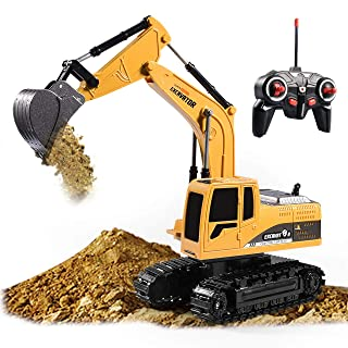 Excavator Toy Remote Control Excavator RC Truck Toy,6 Channel Rechargeable RC Truck with Lights Sounds, Mini Construction excavator1/24 Scale RC Excavator Construction Vehicles Gifts for Boys Girls