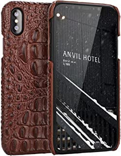 iPhone X Genuine Leather (Crocodile Texture)Case Cover,Flying Horse Real Leather Alligator Skin Texture[Ultra Slim Handmade]Back Cover for iPhone 10(Brown)