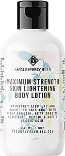 ASDM Beverly Hills Natural Maximum Strength Skin Lightening Body Lotion ~Anti Aging with Kojic Acid, Alpha Arbutin, Glycol...