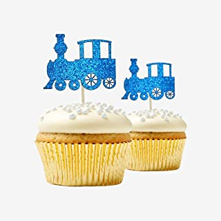 Train Cupcake Topper 12 pieces per Pack Cupcake Topper Decoration Card Stock Blue