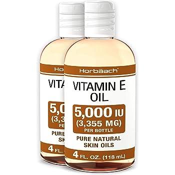 Natural Vitamin E Oil 5000 IU | 8 oz (2 x 4oz) | For Skin, Hair & Face | Vegetarian, Non-GMO, Gluten Free | By Horbaach