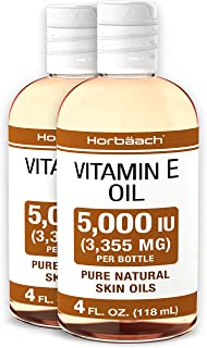 Natural Vitamin E Oil 5000 IU | 8 oz (2 x 4oz) | For Skin, Hair & Face | Vegetarian, Non-GMO, Gluten Free | By Horbaach