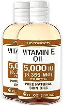 Natural Vitamin E Oil 5000 IU   8 oz (2 x 4oz)   For Skin, Hair & Face   Vegetarian, Non-GMO, Gluten Free   By Horbaach