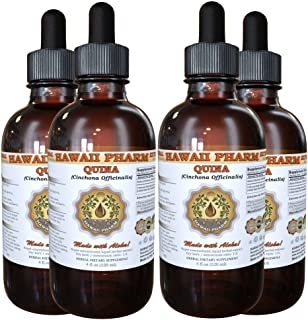 Quina Liquid Extract, Quina (Cinchona officinalis) Tincture, Herbal Supplement, Hawaii Pharm, Made in USA,t 4x4 fl.oz