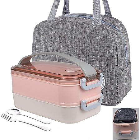 LUNALING Boîte à lunch étanche à double couche, Lunch Box,adaptée à l'emballage du déjeuner et à la préparation des repas travail-école-extérieur, sac isolant, boîte à lunch chauffant au micro-ondes.