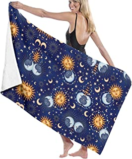 Bath Towel Wrap Sun Moon Star Prints Womens Spa Shower and Wrap Towels Swimming Bathrobe Cover Up for Ladies Girls - White
