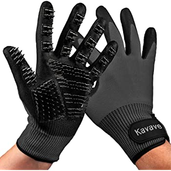 KAVAVE Pet Grooming Gloves Pet Hair Remover for Cat and Dog Pet Gloves for Hair Removal Brush for Shedding Dogs Cats Horses, Removes Tangles and Dirt for Long Fur Coats Brushes Deshedding Mit Remover