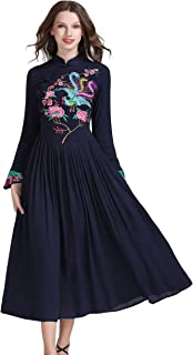 Women's Long Sleeve Chinese Traditional Style Phoenix Floral Embroidered Long Dress