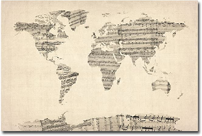 Old Sheet Music World Map By Michael Tompsett 22x32 Inch Canvas Wall Art Prints Posters Prints Amazon Com
