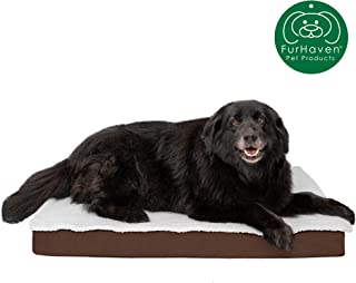 Furhaven Pet Dog Bed | Deluxe Mat Water-Resistant Indoor/Outdoor Polycanvas Traditional Foam Mattress Pet Bed w/Removable Cover for Dogs & Cats