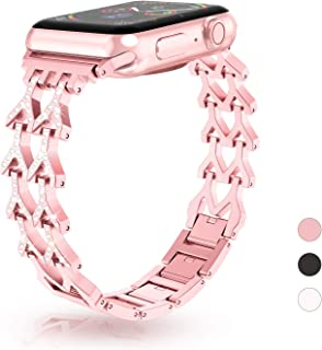 GaoBao Bling Band for Apple Watch Band 38mm 40mm iWatch Band Series 5,Series 4,Series 3,Series 2,Series 1,Diamond Rhinestone Stainless Steel Metal Replacement Wristband Bracelet Women Girl,Rose Gold