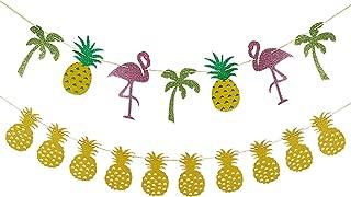 Gold Glittery Pineapple Garland and Glittery Flamingo Pineapple Coconut Tree Garland- Hawaii Luau Tropical Theme Party Decoraiton Supplies