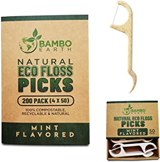 Natural Dental Floss Picks - Eco Friendly Cruelty Free & Vegan Tooth Flossers Pick Set with Biodegradable and Compostable BPA Free Handle & Zero Waste Packaging - 200 Pack (Mint Flavored)