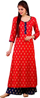 Angel's Fashion Women Cotton Casual Printed Kurti with Palazzo | Red and Purple Color Small to 4XL